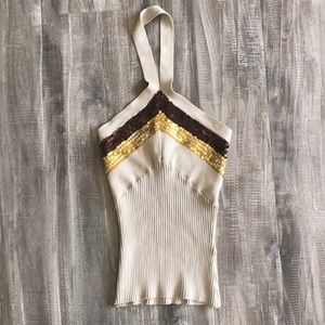 Say What? Sequin Detail Sweater Halter Top Size M
